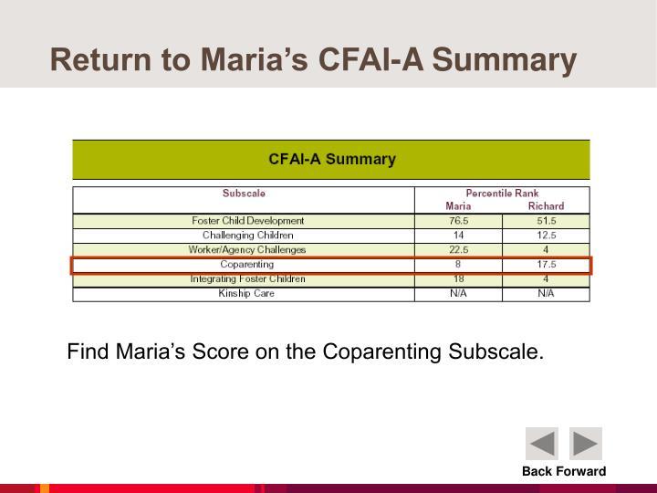 Return to Maria's CFAI-A Summary