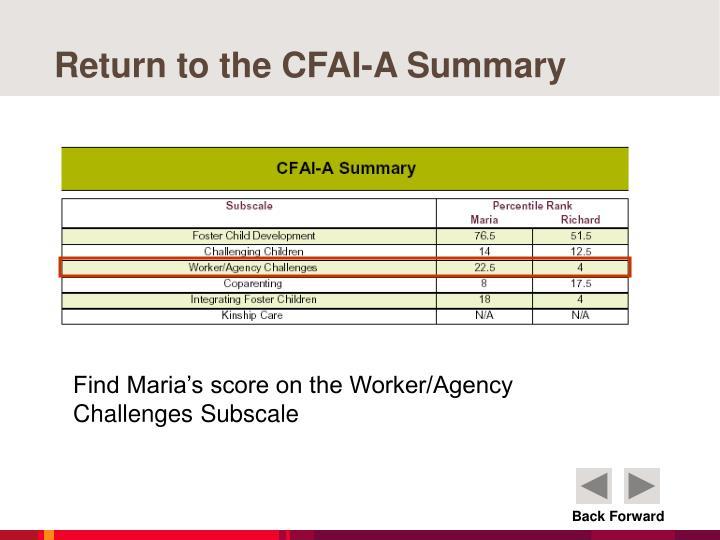Return to the CFAI-A Summary