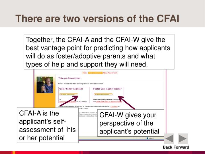 There are two versions of the CFAI