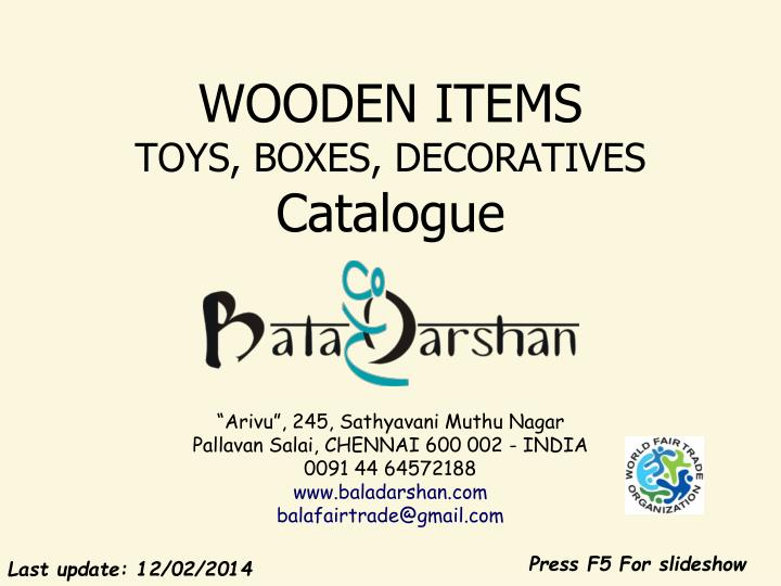 Wooden items toys boxes decoratives catalogue