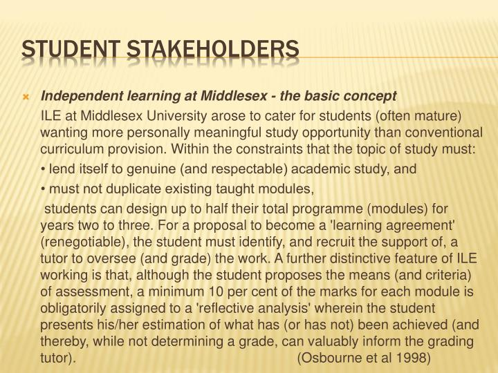Independent learning at Middlesex - the basic concept