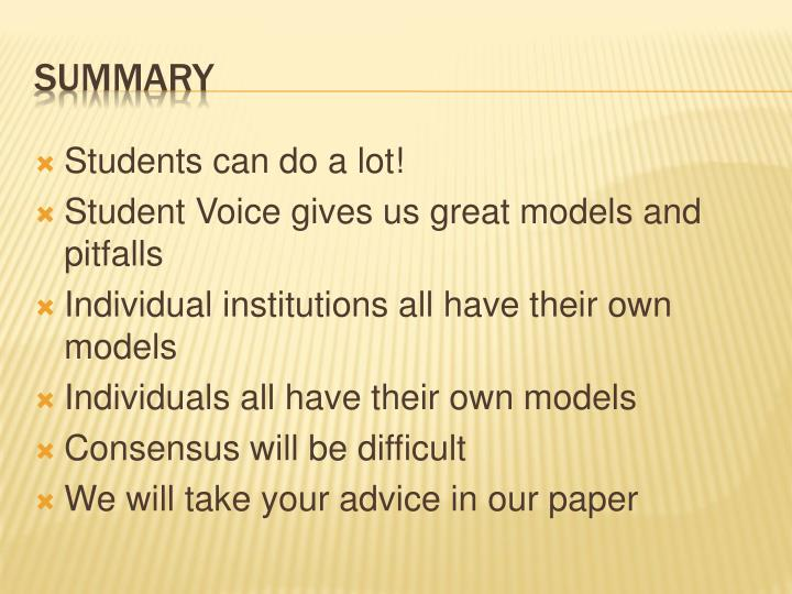 Students can do a lot!