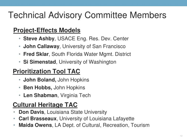 Technical Advisory Committee Members