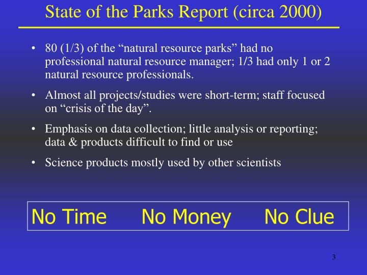 State of the parks report circa 2000