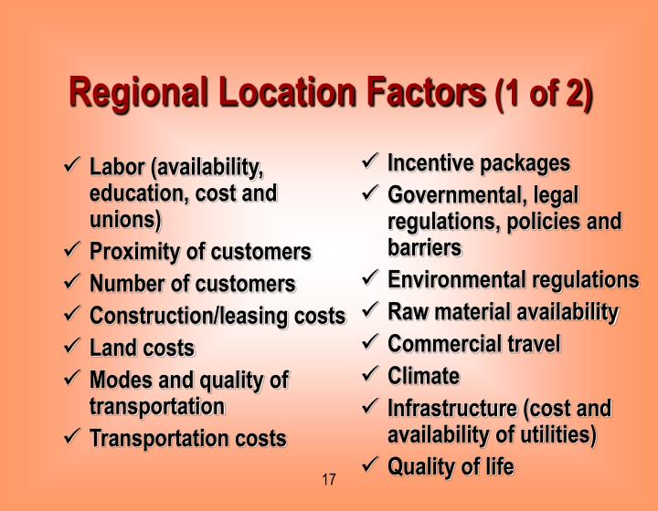 Regional Location Factors