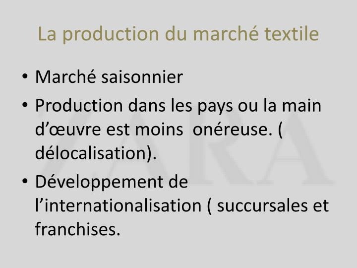 La production du march textile
