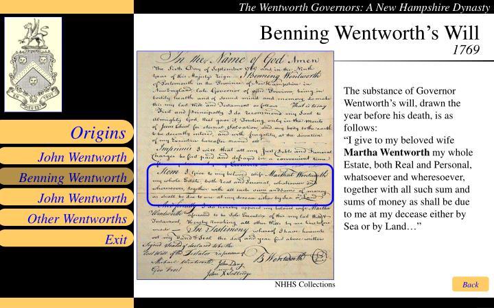 Benning Wentworth's Will