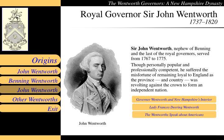 Royal Governor Sir John Wentworth