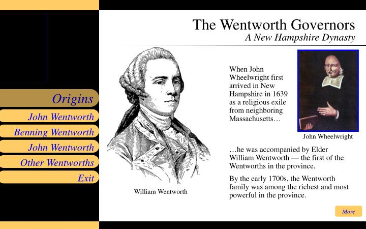 The wentworth governors a new hampshire dynasty