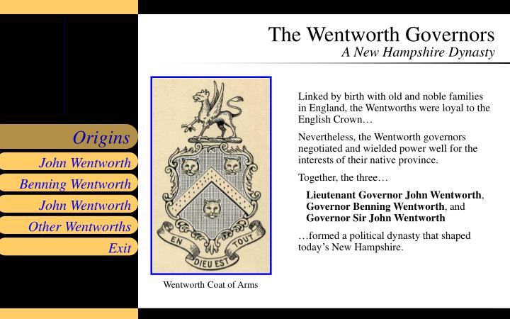 The wentworth governors a new hampshire dynasty1