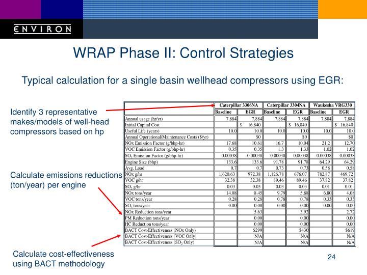WRAP Phase II: Control Strategies