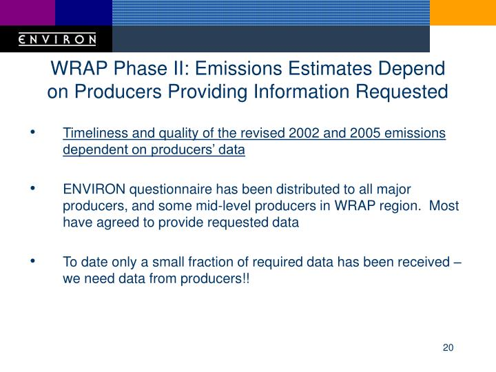 WRAP Phase II: Emissions Estimates Depend on Producers Providing Information Requested