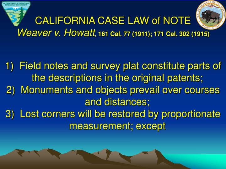 CALIFORNIA CASE LAW of NOTE
