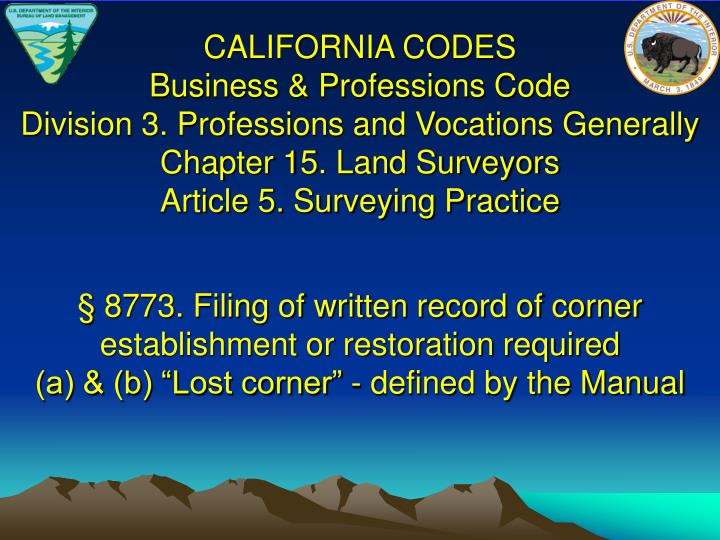 CALIFORNIA CODES
