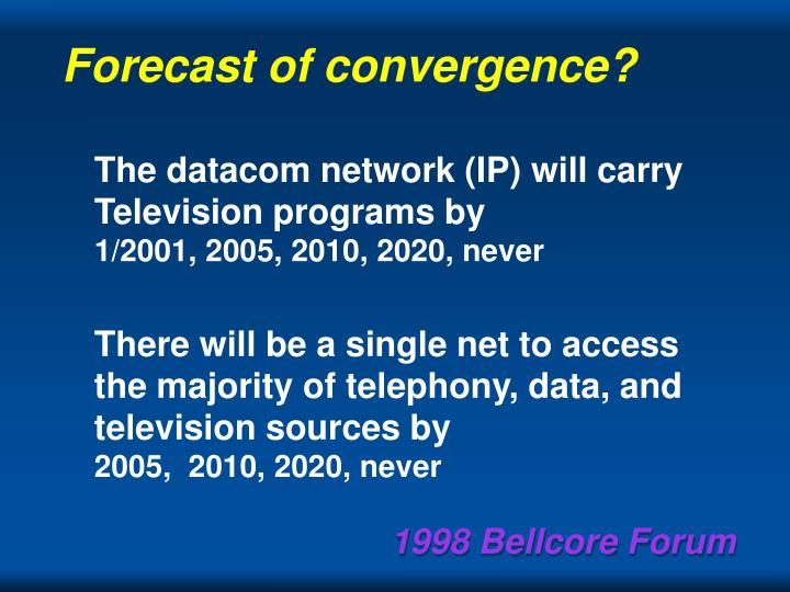 Forecast of convergence?