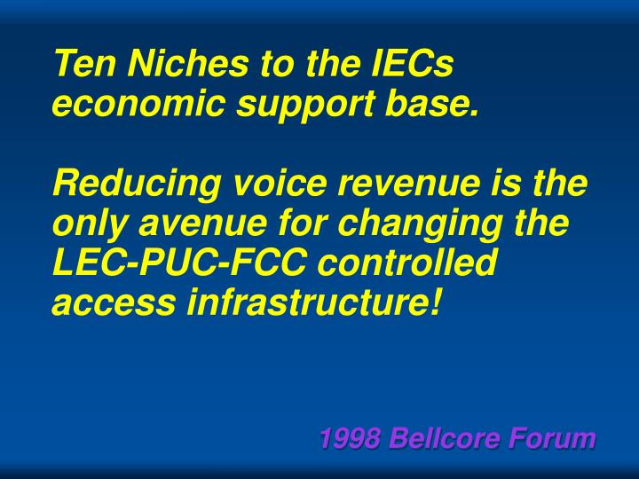 Ten Niches to the IECs economic support base.