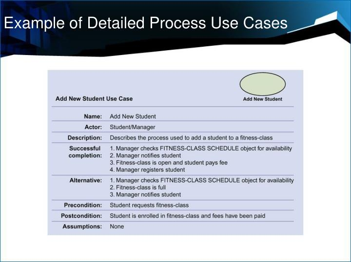 Example of Detailed Process Use Cases