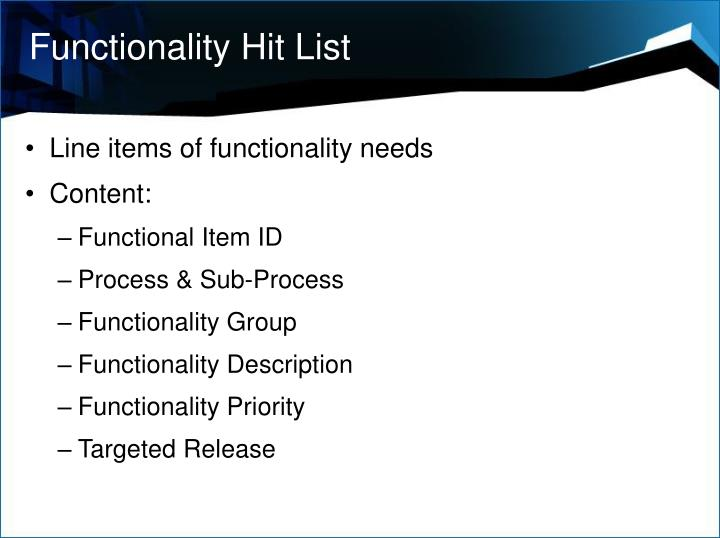 Functionality Hit List