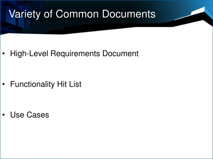 Variety of Common Documents