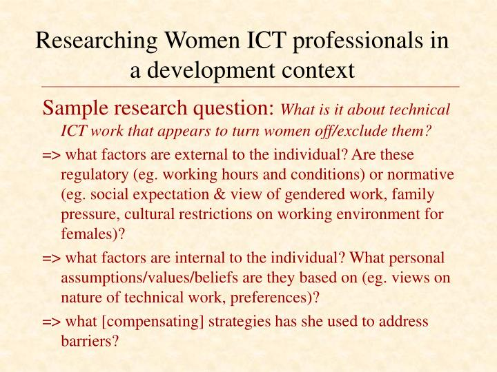 Researching Women ICT professionals in a development context