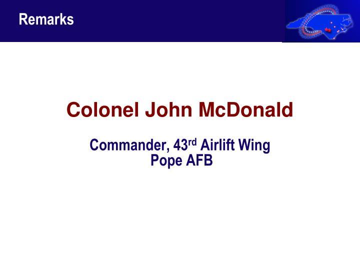 Colonel John McDonald
