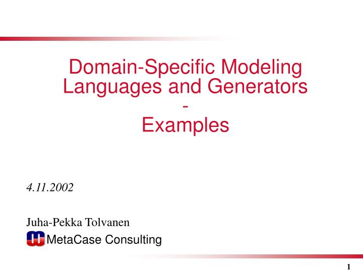 domain specific modeling languages and generators examples
