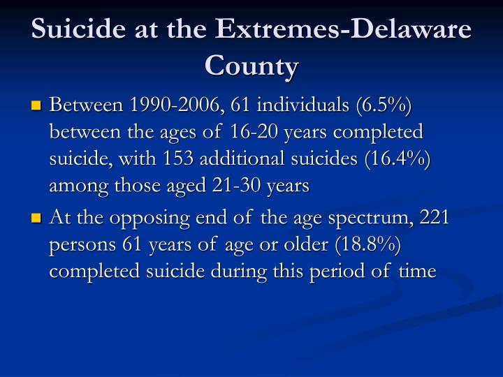 Suicide at the Extremes-Delaware County