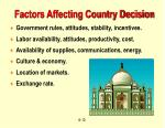 factors affecting country decision
