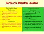 service vs industrial location