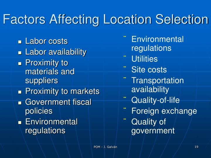 Factors Affecting Location Selection