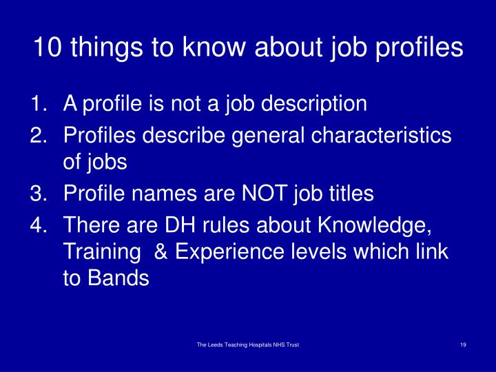 10 things to know about job profiles