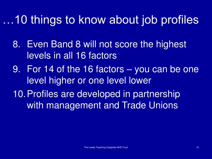 …10 things to know about job profiles