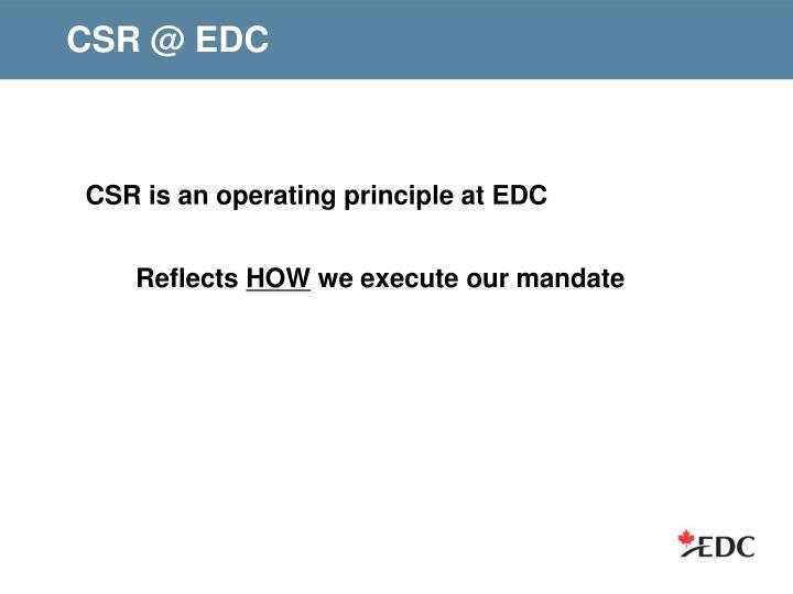 CSR @ EDC