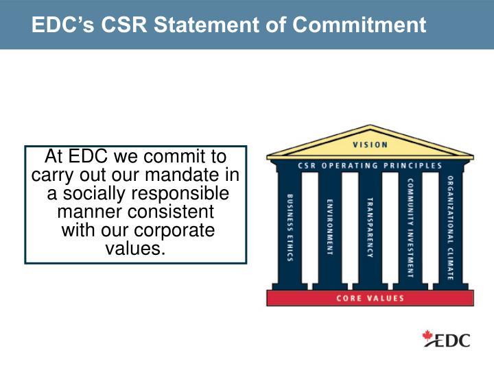 EDC's CSR Statement of Commitment