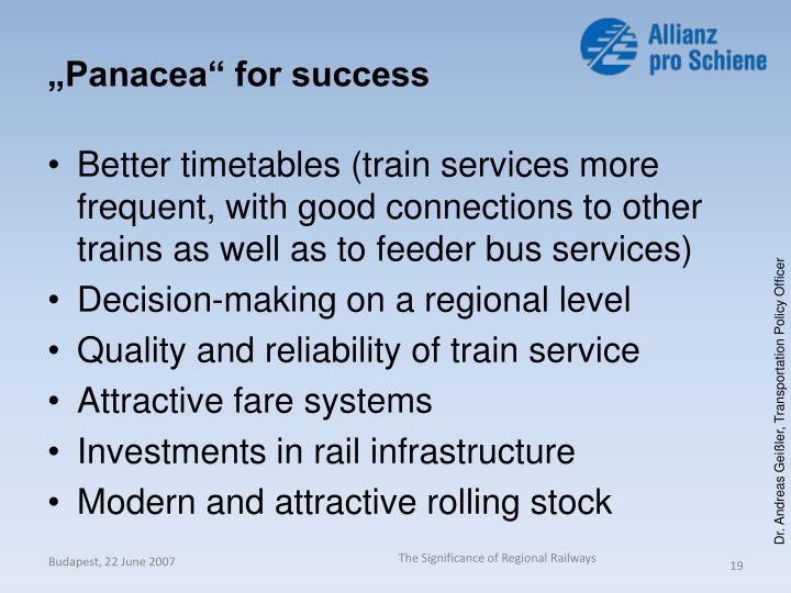 """Panacea"" for success"