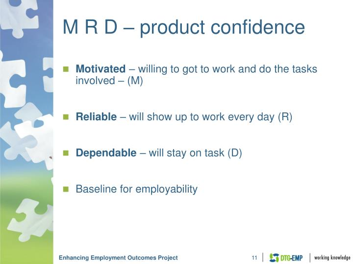 M R D – product confidence