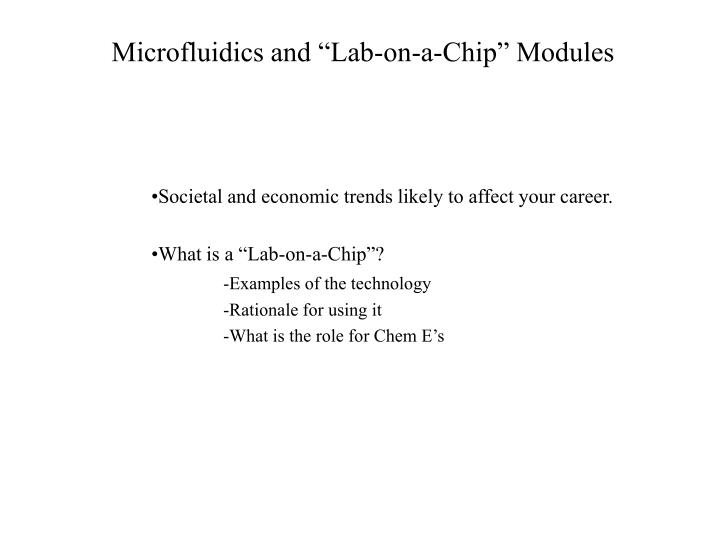 microfluidics and lab on a chip modules n.