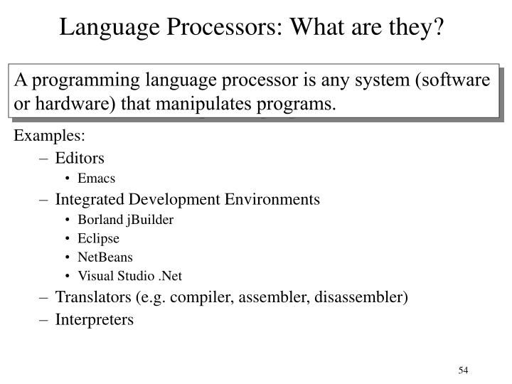 Language Processors: What are they?