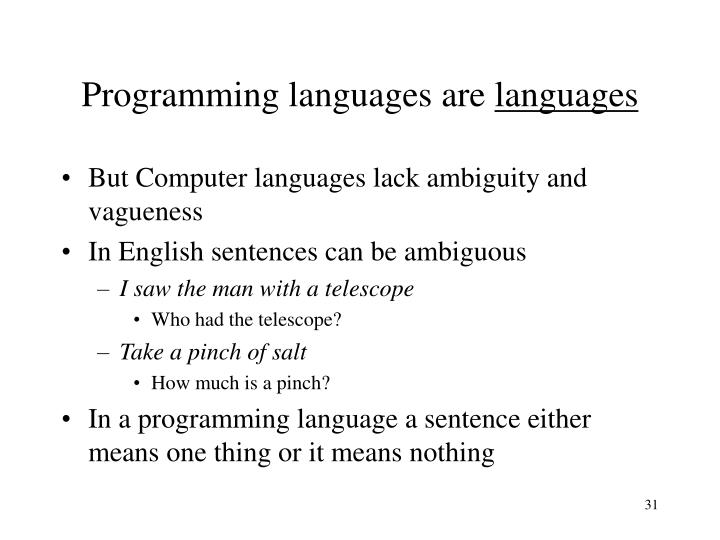 Programming languages are