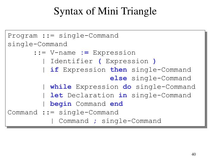 Syntax of Mini Triangle