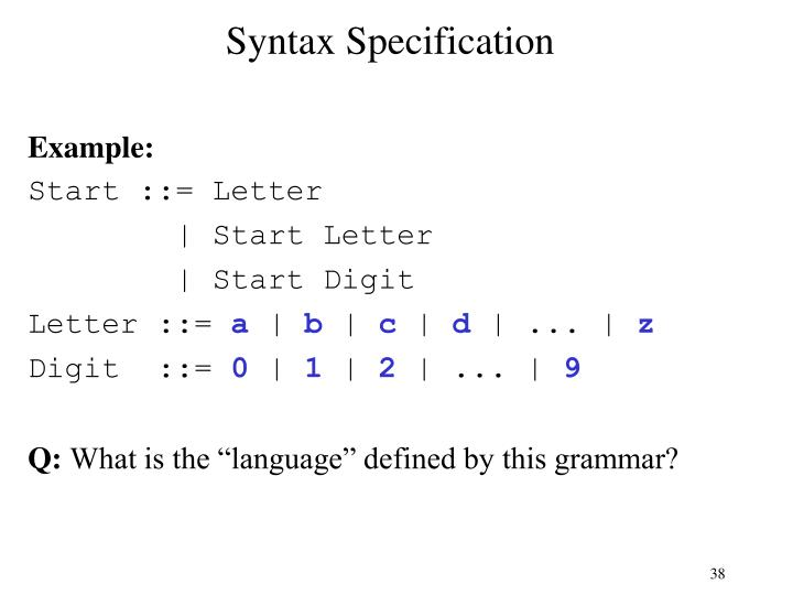 Syntax Specification