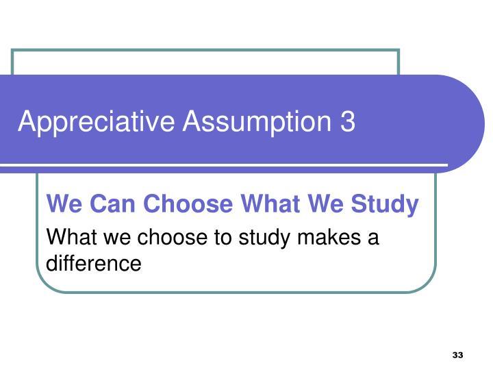 Appreciative Assumption 3