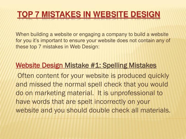 Top 7 mistakes in website design
