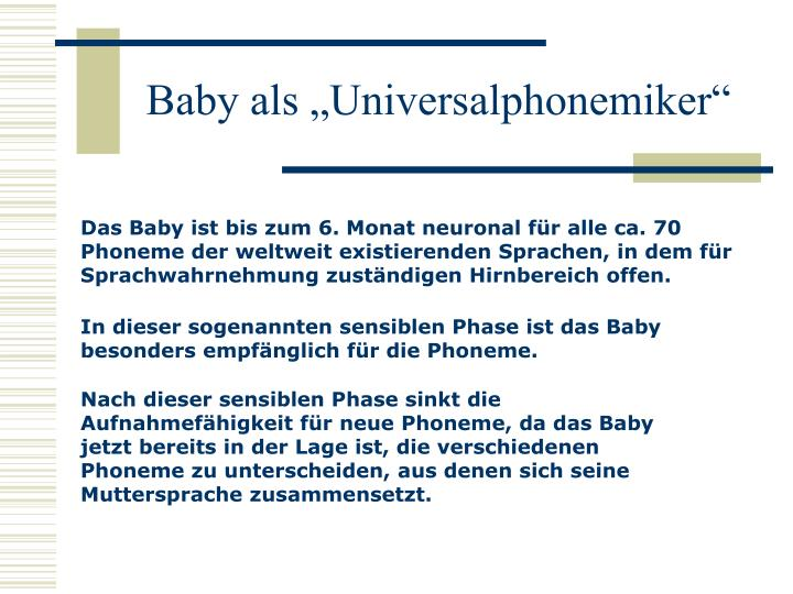 """Baby als """"Universalphonemiker"""""""