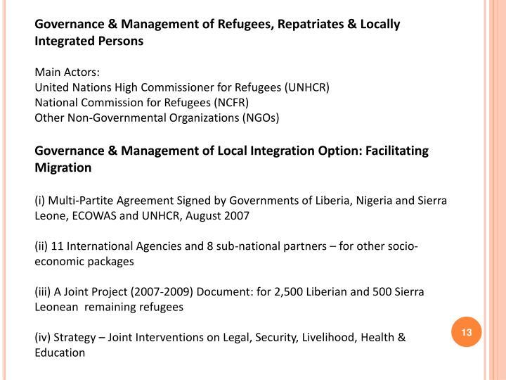Governance & Management of