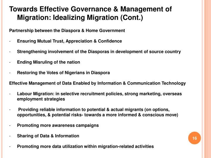 Towards Effective Governance & Management of Migration: Idealizing Migration (Cont.)