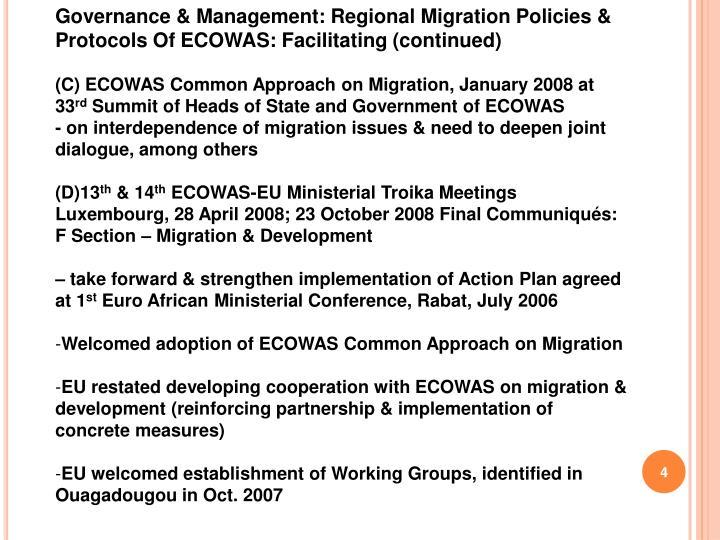 Governance & Management: Regional Migration Policies & Protocols Of ECOWAS: Facilitating (continued)
