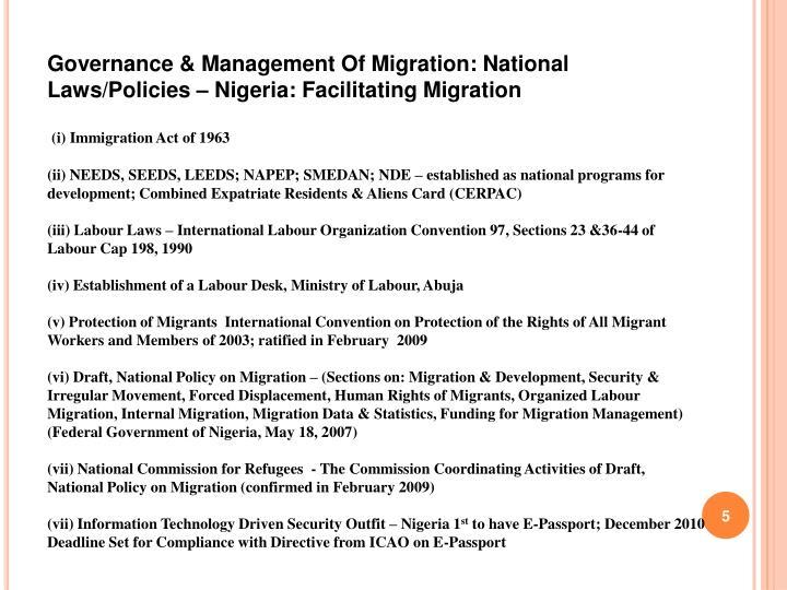Governance & Management Of Migration: National Laws/Policies – Nigeria: Facilitating Migration