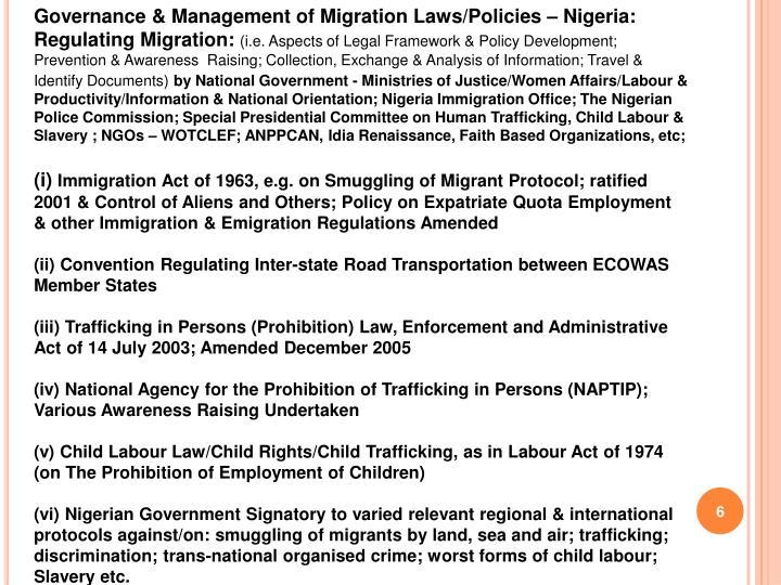 Governance & Management of Migration Laws/Policies – Nigeria: Regulating Migration: