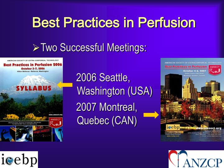 Best Practices in Perfusion